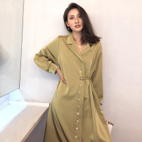 Dress Spring 2021 Champagne green S,M,L longuette singleton  Long sleeves commute other High waist Solid color Single breasted other Others 25-29 years old Type A Korean version 18-230 51% (inclusive) - 70% (inclusive) Silk and satin polyester fiber