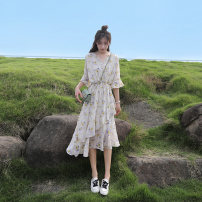 Dress Summer 2021 Off white S,M,L,XL,2XL Mid length dress singleton  Short sleeve commute V-neck middle-waisted Decor Socket Cake skirt pagoda sleeve Type A Korean version 91% (inclusive) - 95% (inclusive) Chiffon Cellulose acetate