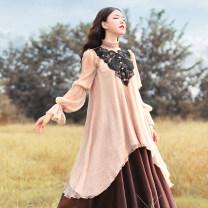 Lace / Chiffon Spring of 2019 Average size Long sleeves Sweet Socket singleton  easy Medium length High collar Solid color bishop sleeve 25-29 years old Broadcast joy princess