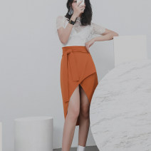 skirt Fall 2017 S,M,L Dark blue, rust Middle-skirt Versatile High waist Irregular Solid color Type A 25-29 years old DY-SA0011 More than 95% other polyester fiber Frenulum