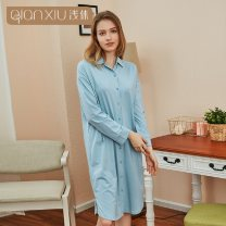 Nightdress Quality  sexy Long sleeves Leisure home longuette autumn Solid color youth square neck cotton One piece 41% (inclusive) - 60% (inclusive) cotton 200g