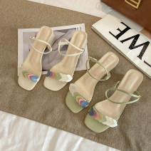 Sandals 35,36,37,38,39 Off white, green, light green, light off white PU Jamie of Min Barefoot Thick heel Middle heel (3-5cm) Summer 2021 Trochanter Korean version Solid color Adhesive shoes Youth (18-40 years old) rubber daily Front and rear trip strap Color matching, thick heel, waterproof platform