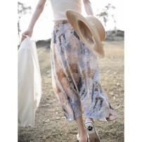 skirt Spring 2021 S,M,L,XL Decor Mid length dress Versatile High waist A-line skirt Decor Type A YQ1C1621 More than 95% Berry l Garden silk