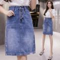 skirt Summer 2020 S,M,L,XL,2XL blue Mid length dress commute High waist Denim skirt TB9865 Korean version