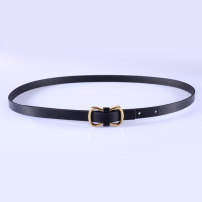 Belt / belt / chain top layer leather White, black female belt Versatile Single loop Youth, middle age, old age Smooth button Geometric pattern soft surface 1.4cm alloy