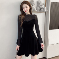 Dress Autumn 2020 black S,M,L,XL Short skirt Fake two pieces Long sleeves commute Crew neck High waist Solid color Socket A-line skirt pagoda sleeve 18-24 years old Type A Korean version Stitching, mesh, zipper 51% (inclusive) - 70% (inclusive)