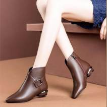 Boots 35,36,37,38,39,40 PU Other / other Low heel (1-3cm) Thick heel PU Short tube Sharp point PU Artificial short plush Autumn of 2019 Side zipper Britain rubber Solid color Martin boots Adhesive shoes Artificial short plush Youth (18-40 years old) winter routine