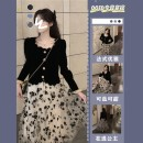 Women's large Spring 2021 trousers Two piece set commute easy moderate Cardigan Long sleeves Solid color, broken flowers other routine Three dimensional cutting routine An.Jolier Medium length Princess Dress