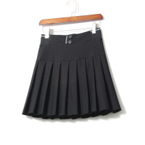 skirt Spring 2021 M,L,XL black Short skirt Versatile High waist Pleated skirt Solid color Type A 91% (inclusive) - 95% (inclusive) other LEEYABEAUTY cotton Fold, button, stitching