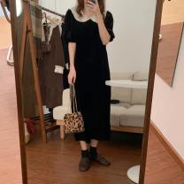 Dress Spring 2021 Black, brown Average size longuette singleton  Short sleeve Solid color