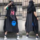 Women's large Summer 2021 Black (loose) Average size (recommended 90-180 kg) Dress singleton  easy thin Socket Short sleeve Crew neck Cotton, others Make old longuette Lantern skirt