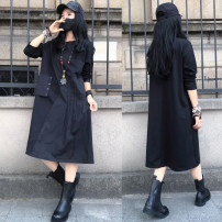 Dress Spring 2021 Black (loose and thin version) M,L,XL Mid length dress singleton  Long sleeves commute Crew neck High waist Solid color Socket Pleated skirt routine Others Type A Patching, patching 51% (inclusive) - 70% (inclusive) cotton