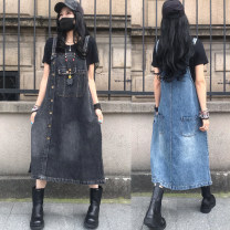 Dress Summer 2021 Black (loose), blue (loose) M,L,XL Mid length dress singleton  Sleeveless commute other High waist Solid color Socket A-line skirt routine Others Type A Make old 51% (inclusive) - 70% (inclusive) Denim cotton