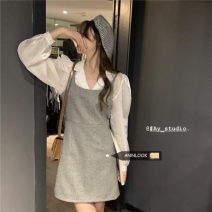Fashion suit Spring 2021 S. M, average size Grey vest skirt, black vest skirt, white shirt# 18-25 years old 30% and below