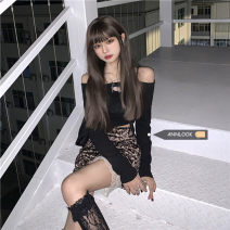 Fashion suit Spring 2021 Average size Black T-shirt, skirt s, Skirt M 18-25 years old
