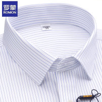 shirt Business gentleman Romon / Romon 38 39 40 41 42 43 44 routine square neck Short sleeve standard go to work summer middle age Cotton 100% Business Formal  2020 stripe Color woven fabric Summer 2020 No iron treatment cotton More than 95%