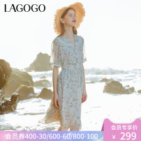 Dress Summer 2021 Mixed color (Y0) mixed color (Y0) pre sale 4.23 hair mixed color (Y0) pre sale 155/S/36 160/M/38 165/L/40 Mid length dress singleton  Short sleeve Sweet V-neck High waist Broken flowers Socket A-line skirt puff sleeve 25-29 years old Type A Lagogo / Lagu Valley Stitching buttons