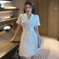 Dress Summer 2021 White, black S, M Short skirt singleton  Short sleeve tailored collar Solid color other Others 18-24 years old Type A E0416.45 More than 95% other
