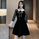 Dress Spring 2021 black S,M,L Short skirt singleton  Long sleeves commute High waist A-line skirt Others 18-24 years old Type A Korean version bow A12.19-13