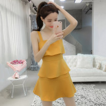 Dress Summer 2021 Yellow, black, black 2 S,M,L,XL Short skirt singleton  Sleeveless commute other middle-waisted Solid color Socket Cake skirt other camisole 18-24 years old Type A lady D202041.24