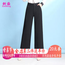 Middle aged and old women's wear Spring of 2018 black fashion trousers Straight cylinder Solid color 40-49 years old moderate pocket polyester Other polyester 95% 5% 91% (inclusive) - 95% (inclusive) 7 / 9 pants