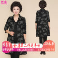 Middle aged and old women's wear Autumn of 2018 Black animal print black with black pants ethnic style Jacket / jacket easy singleton  Decor 40-49 years old Cardigan moderate Polo collar Medium length (length 50-70cm) routine XS18Cj156 Xinsheng Button polyester Other polyester 95% 5% Single breasted