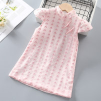 Dress Pink female Other / other Other 100% summer ethnic style Short sleeve Broken flowers Chiffon A-line skirt Class B 12 months, 18 months, 2 years old, 3 years old, 4 years old, 5 years old, 6 years old, 7 years old Chinese Mainland