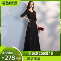 Dress / evening wear Wedding, adulthood, party, company annual meeting, performance, routine, appointment XXL, XXXL, s, m, l, XL, customized, non refundable, contact customer service to change the price Black, bright gold grace longuette middle-waisted Fall to the ground Deep collar V Velvet Sequin