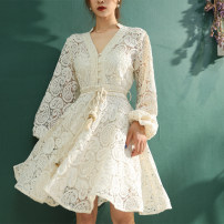 Dress Autumn 2020 Off white, blue S,M,L Middle-skirt Two piece set Long sleeves commute V-neck High waist Solid color Socket A-line skirt routine Others 25-29 years old Type A Ye Er Hollow out, embroidery, Gouhua, hollow out, lace, splicing, bandage, zipper, resin fixation, lace 0830-7 More than 95%
