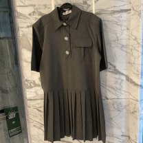 Dress Summer 2021 High grade grey S,M,L Short skirt singleton  Short sleeve commute Polo collar Loose waist Solid color Single breasted Pleated skirt routine 18-24 years old Korean version Button polyester fiber