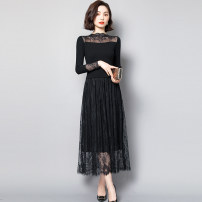 Dress Winter 2020 Black, 5890 black, 5808 black, 5889 black M,L,XL,2XL,3XL longuette singleton  Long sleeves commute High collar High waist Solid color Socket routine Type A Other / other Simplicity Stitching, thread, mesh, lace BK5891 81% (inclusive) - 90% (inclusive)