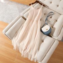 Dress Summer 2020 Apricot suspender skirt, black suspender skirt, grey suspender skirt, pink suspender skirt, white suspender skirt, apricot vest skirt, black vest skirt, grey vest skirt, pink vest skirt, white vest skirt S,M,L,XL,2XL,3XL,4XL Mid length dress singleton  Sleeveless commute Crew neck