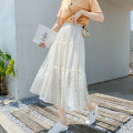 skirt Summer 2020 Mid length dress commute High waist A-line skirt Solid color Type A 91% (inclusive) - 95% (inclusive) Other / other fold