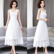 Dress Summer of 2019 White, black, black 3306, white 3306, black 3310, black 3311, apricot 3311 Average size Mid length dress singleton  Sleeveless commute Crew neck High waist Solid color Socket A-line skirt straps Type A Other / other Korean version Stitching, mesh, lace modal