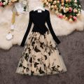 Dress Spring 2021 Black, red, apricot Average size longuette singleton  Long sleeves commute V-neck High waist Solid color Socket Big swing routine 18-24 years old Type A Korean version 30% and below other other