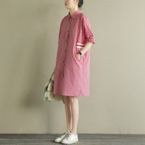 Dress Summer of 2018 gules M, L Middle-skirt singleton  elbow sleeve Sweet square neck Loose waist lattice Single breasted routine Type H Natural products More than 95% cotton college