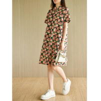 Dress Summer 2021 Middle-skirt singleton  Short sleeve commute stand collar Loose waist Decor Condom other other Others Type H Natural products literature More than 95% other cotton M,L Pink print