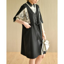 Dress Summer 2021 Black stitching M, L Mid length dress singleton  elbow sleeve commute Polo collar Elastic waist Solid color other other Sleeve Others Natural products literature More than 95% Chiffon polyester fiber