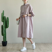 Dress Autumn 2020 Pink Purple Average size longuette singleton  Long sleeves commute Polo collar Loose waist Solid color Single breasted other Petal sleeve Others Type A Natural products literature More than 95% cotton