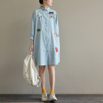 Dress Fall 2017 Light blue Average size Mid length dress singleton  Long sleeves commute square neck Loose waist Single breasted routine Type A Natural products literature More than 95% cotton