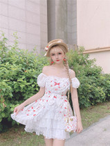 Dress Summer 2020 Printed short sleeve , Printed long sleeve S,M,L Short skirt singleton  Short sleeve Sweet One word collar High waist Decor zipper Ruffle Skirt puff sleeve Others Type A Bow, ruffle, tuck, fungus, lace 81% (inclusive) - 90% (inclusive) other cotton solar system