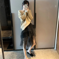 skirt Autumn of 2019 S,M,L black Mid length dress commute High waist A-line skirt Solid color Type A 18-24 years old More than 95% Lace Chloroprene Korean version