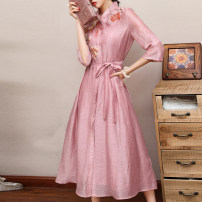 Dress Summer 2020 Pink apricot S M L XL XXL longuette Two piece set three quarter sleeve commute stand collar middle-waisted Solid color other A-line skirt routine Others 35-39 years old Type A mountain mist Retro Embroidery F9378 30% and below other cotton Viscose 45% Cotton 30% flax 25%