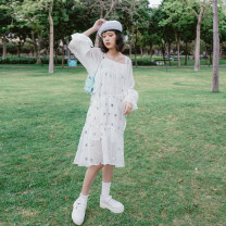 Dress Summer 2020 Black, white S,M,L Mid length dress singleton  Sleeveless Sweet square neck Loose waist Dot Cake skirt other camisole 18-24 years old Type H T087 college