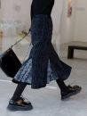skirt Winter 2020 S,M,L Sweet cool black Mid length dress High waist Ruffle Skirt lattice Type H 18-24 years old E251 polyester fiber
