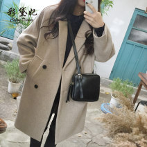 woolen coat Spring 2021 S. M, l, XL, 2XL, do not buy pre-sale money Black, beige, beige thickened, black thickened polyester 95% and above Medium length Long sleeves commute routine tailored collar Solid color Self cultivation Korean version 25-29 years old Solid color polyester fiber