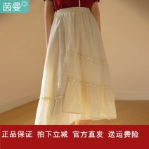 skirt Summer 2021 S,M,L,XL Pear blossom apricot, tea white green Middle-skirt grace High waist A-line skirt Solid color Type A 25-29 years old 181_ TM2451a More than 95% Inman / Inman cotton