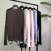 T-shirt Average size Summer of 2019 Long sleeves Crew neck easy Regular routine commute cotton 96% and above Solid color MACQNF