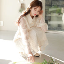 Dress Spring 2020 Apricot S M L XL Mid length dress singleton  Long sleeves commute Doll Collar High waist Solid color Three buttons Pleated skirt bishop sleeve 18-24 years old Eliza Riel Korean version Beaded yarn net 6A698A# More than 95% polyester fiber Polyester 100% Pure e-commerce (online only)