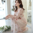 Dress Spring 2020 Decor S M L XL Mid length dress singleton  Long sleeves commute V-neck High waist Decor Socket Pleated skirt bishop sleeve 18-24 years old Eliza Riel Korean version Lotus leaf printing with Auricularia auricula More than 95% polyester fiber Polyester 100%